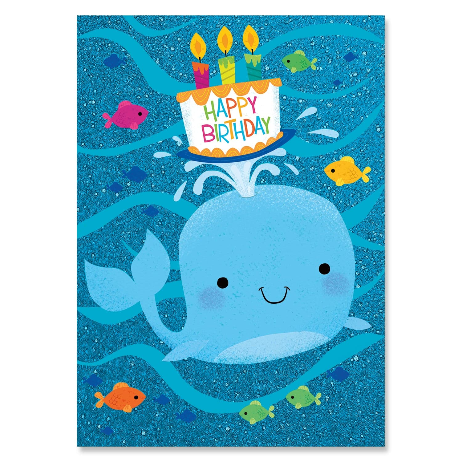 Glitter Birthday Cards Whale with Cake