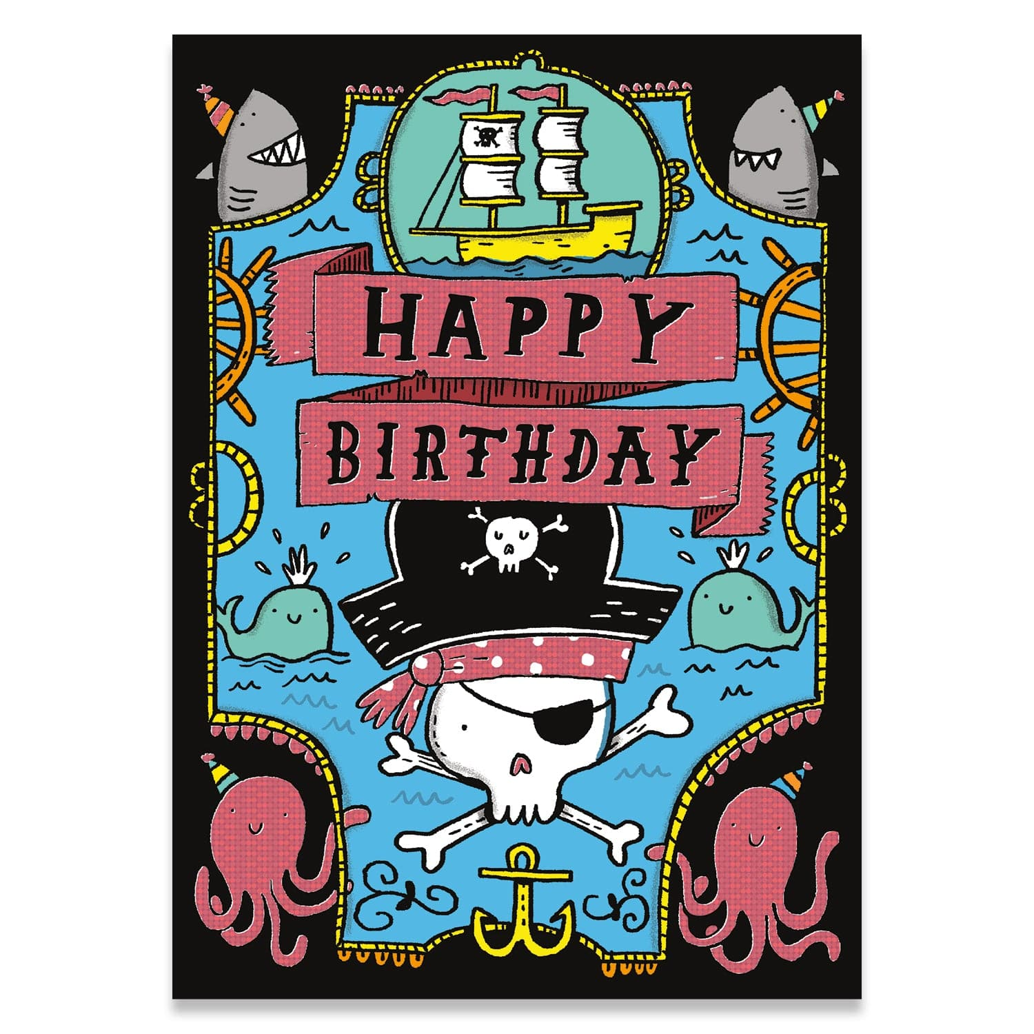 Neon Birthday Cards Pirate