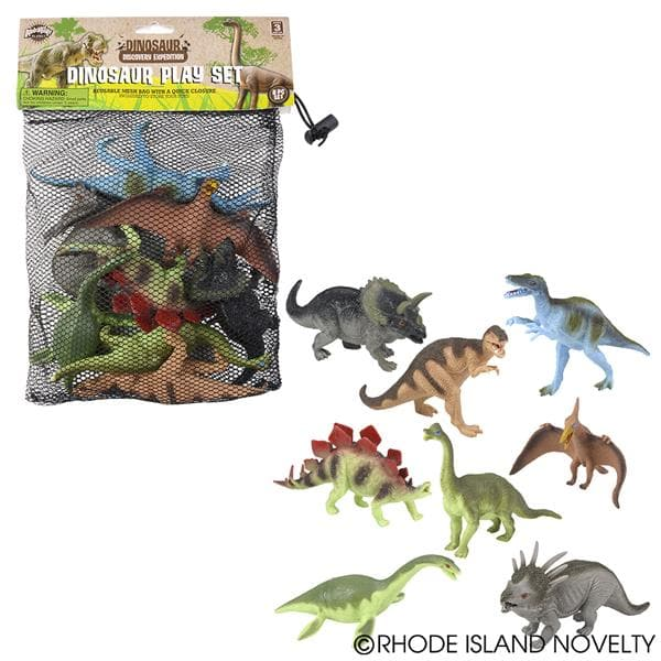 8 Piece Mesh Bag Dinosaur Assortment