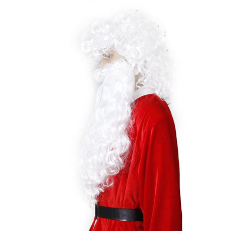 Christmas Wizard Old Man Dress Up White Curly Wigs Cosplay Lovely Father  Santa Claus Beard Wig b9822adfe