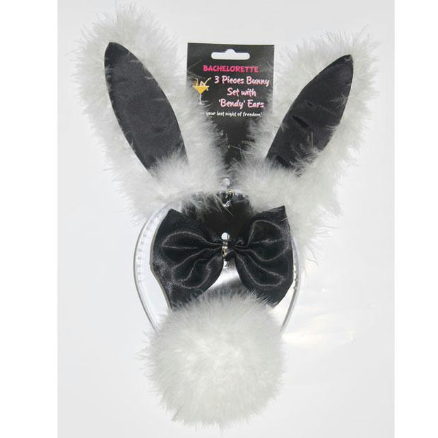 3 Pieces Bunny Set with in.Bendyin. Ears (Black-White)