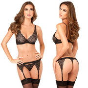 3pc Lux Lace Lurex Bra, Garter & Thong S-M