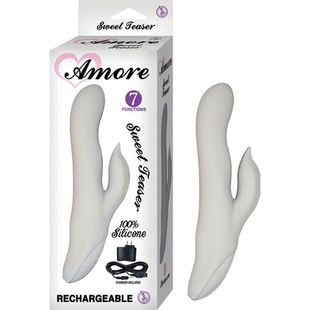 Amore Sweet Teaser Silicone Dual Motor Multispeed Waterproof Rechargeable Clit Stimulating Vibe (Pale Grey)