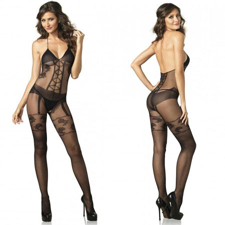 Faux Garter Corset Teddy Bodystocking O-S Black