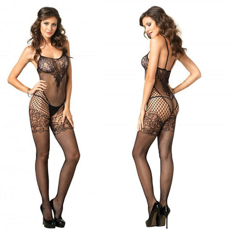 Seamless Dual Net Bodystocking w-Lace Bodice & Garter Detail O-S Black