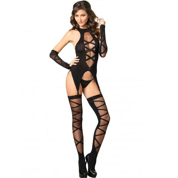 3pc Opaque Sheer Faux Lace Up Cami Garter, Stockings,Gloves O-S Black