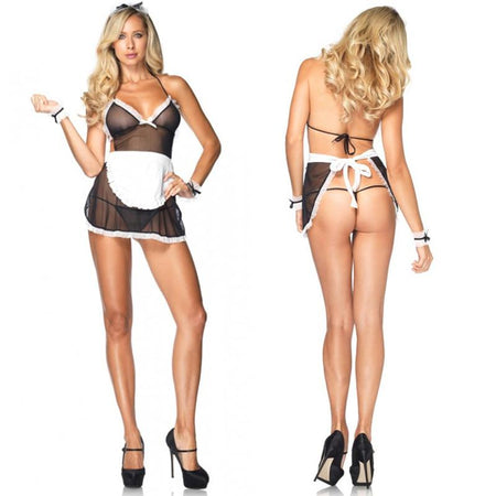 4pc Seductive French Maid, Apron Dress,G-String,Wrist Cuffs,Headband O-S Black-White