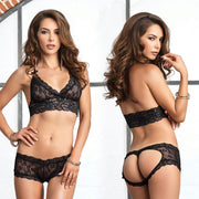 2pc Stretch Lace Halter Bra & Cut Out G-String Booty Short Sml-Med Black