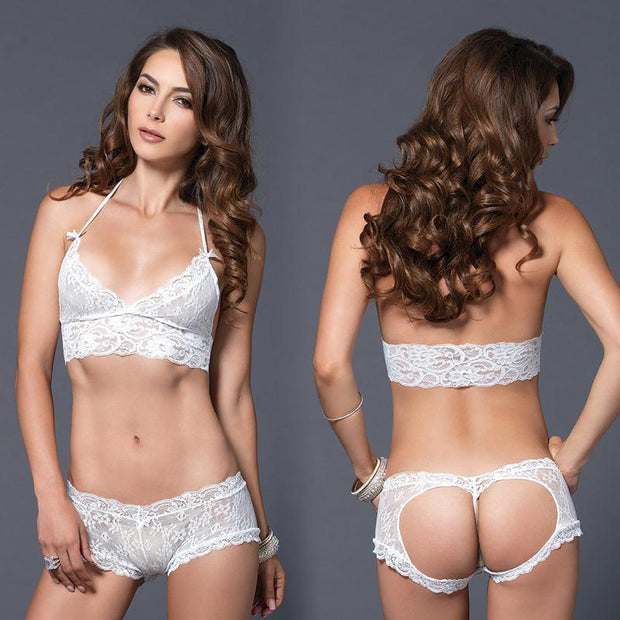 2pc Stretch Lace Halter Bra & Cut Out G-String Booty Short Med-Lge White