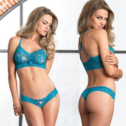 2pc Lace Halter Bralette & Matching Cut Out Thong O-S Teal
