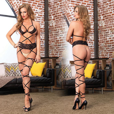 Lace Cage Strap Wrap Around Bodystocking O-S Black