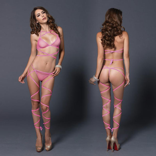 2pc Wrap Around Fishnet Halter Top & Leg Wrap G-String O-S Neon Pink