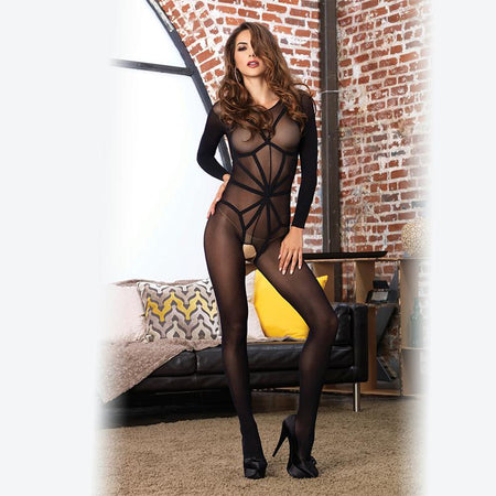 2pc Opaque Long Sleeved Bodystocking w-Harness Teddy Overlay O-S Black
