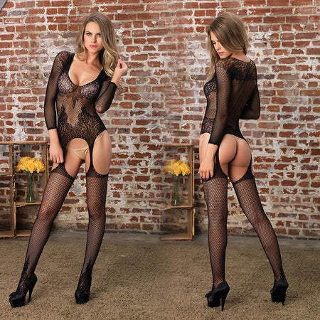Long Sleeved Ring Net & Floral Lace Suspender Bodystocking O-S Black