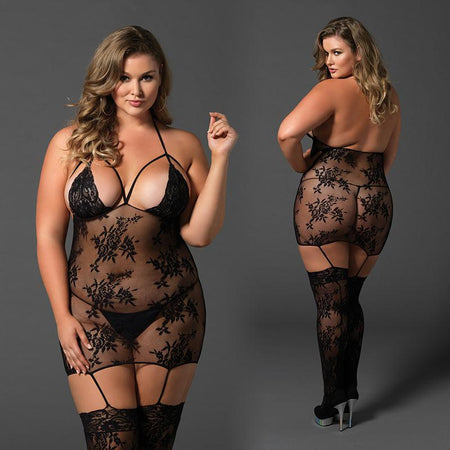 Lace Cage Strap Suspender Bodystocking Plus Size Black