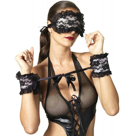 Kink Floral Lace Satin Cuffs & Eye Mask Bondage Restraint Set Black-Pink
