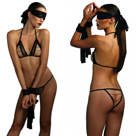Kink 4pc Open Cup Bra w-Chain, Panty, Eye Mask, Wrist Restraints O-S Black