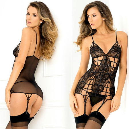 2pc Caged Lace Garter Chemise & G-String Set Small-Medium (Black)