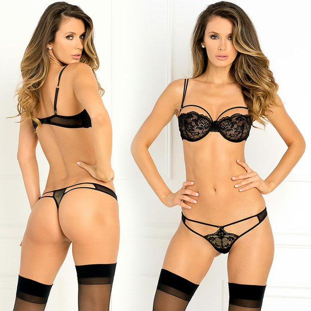 2pc Rough Romance Bra & G-String Set Small-Medium (Black)