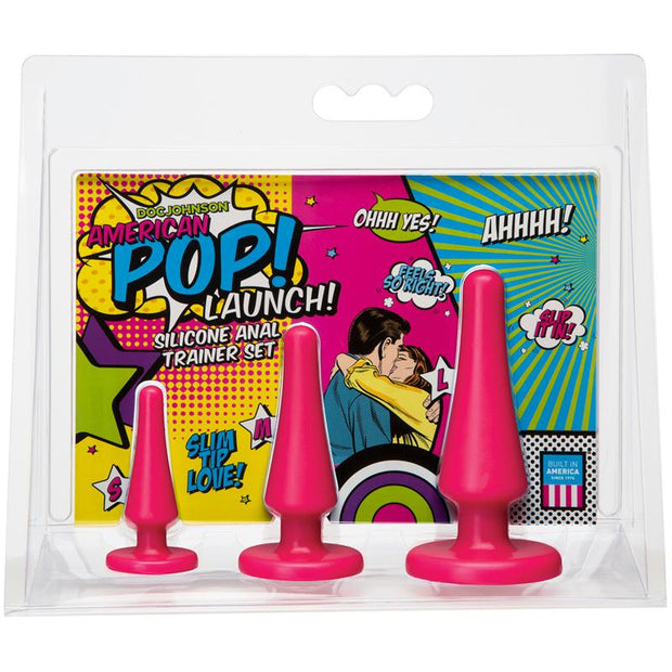 American Pop! Launch! Silicone Anal Trainer Set Pink
