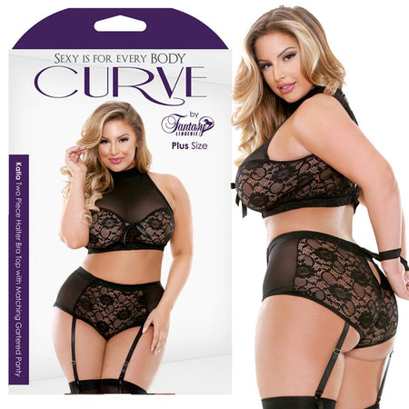 Curve Katia Two Piece Halter Bra Top With Matching Gartered Panty Black 3X-4X
