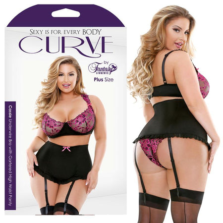 Curve Cassie Underwire Bra With Gartered High Waist Panty Pink-Black 3X-4X