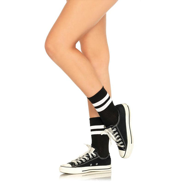 Athletic Striped Anklet Socks O-S Blk-White