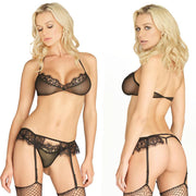 3pc Sheer Bra Top,G-String Panty & Garter Belt Med-Lge Black