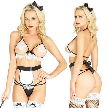 4pc Maid,Cupless Bra Top, Strappy G-String, Apron,Bow Headb& O-S Blk-White