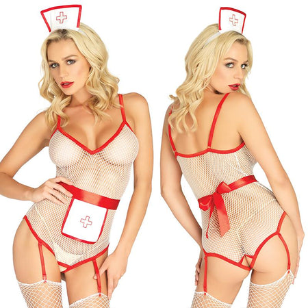 3pc Nurse, Fishnet Crotchless Garter Teddy, Apron, & Matching Headb& O-S White