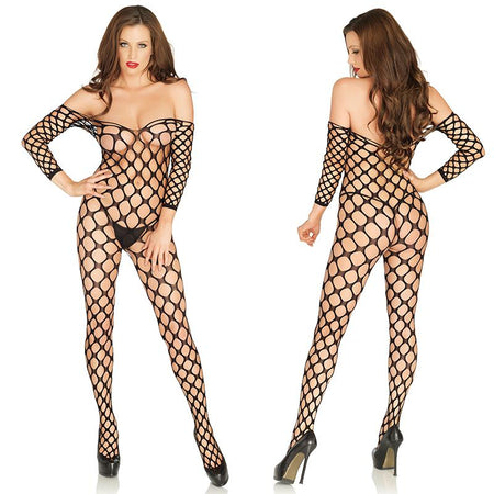 Cargo Net Off The Shoulder Bodystocking O-S Black