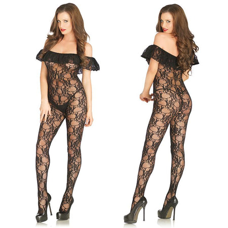 Floral Lace Bodystocking With Off The Shoulder Ruffle Sleeve O-S Black
