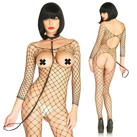 2pc Fence Net Open Cup Bodystocking W-Crotchless Open Back & Choker With O-Ring Attached Leash O-S Black