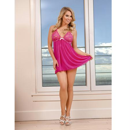 Magic Silk Peek-a-Bow Baby Doll & Thong Set Pink Queen Size