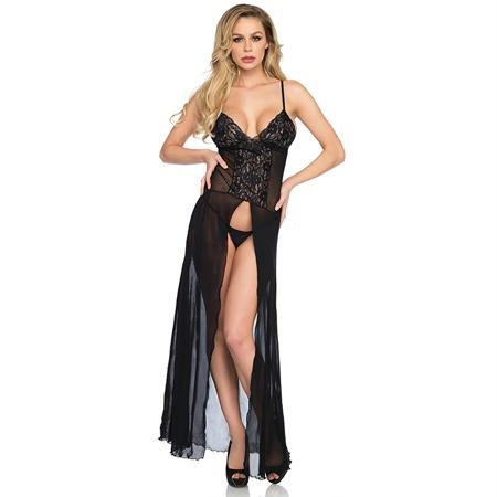 2pc Mesh and lace high slit long gown and matching g-string panty O-S BLACK