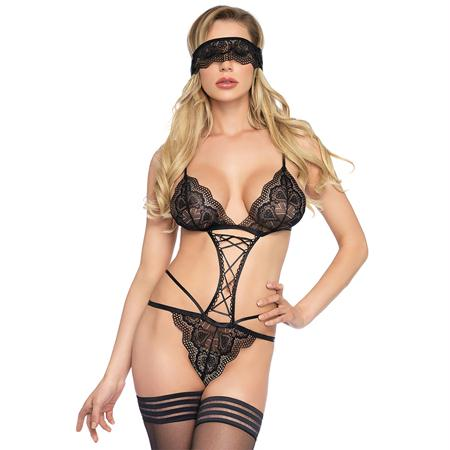 2pc Sweetheart scalloped lace g-string teddy, and matching eye mask O-S BLACK