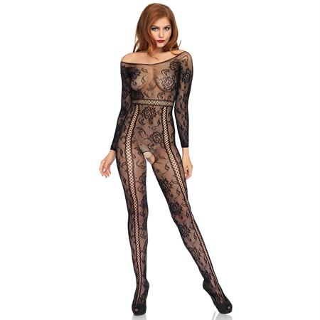 Seamless lace long sleeved bodystocking O-S BLACK