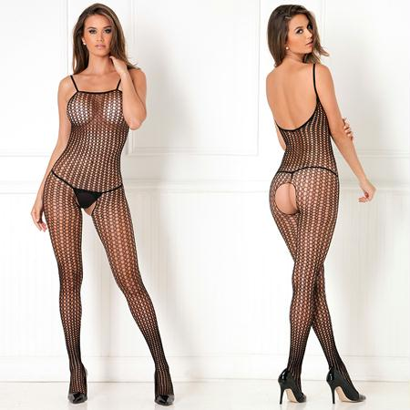 Crotchless Crochet Knit Bodystocking Black X OS