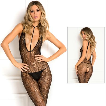 Plunge Harness Bodystocking Black O-S