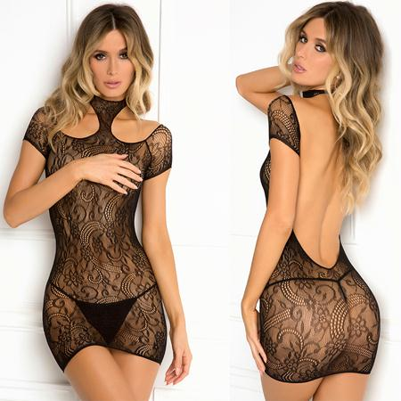Cold Shoulder Lace Bodystocking Black S-M