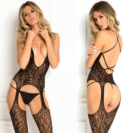 Lace Seduction Bodystocking Black O-S