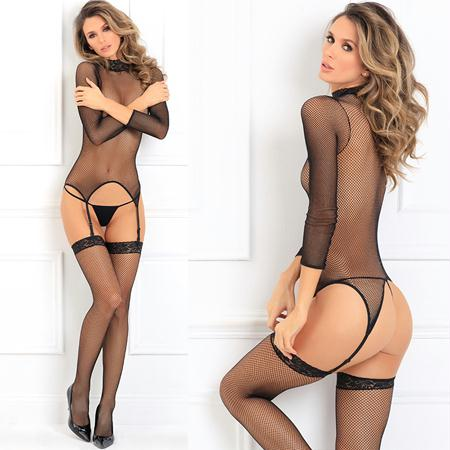 Elegant High Neck Bodystocking Black M-L