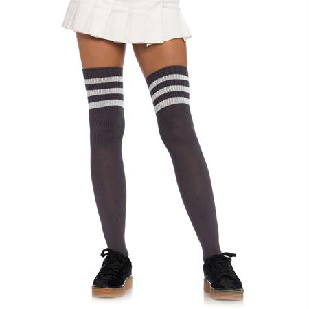 Athlete Thigh Hi W- 3 Stripe O-S Grey-White
