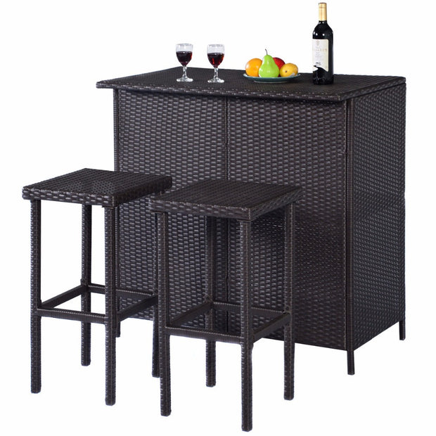 3PCS Rattan Wicker Bar Set Patio Outdoor Table & 2 Stools Furniture Brown Porch Patio Balcony Bars