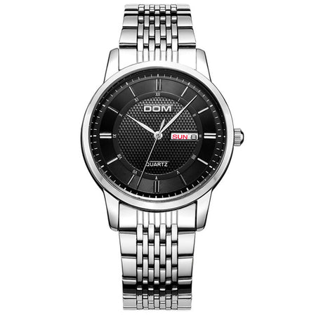 DOM's Classic Chicago Black Line Watch - Men Watch Quartz Analog Clock Leather Stainless Steel Strap Watch