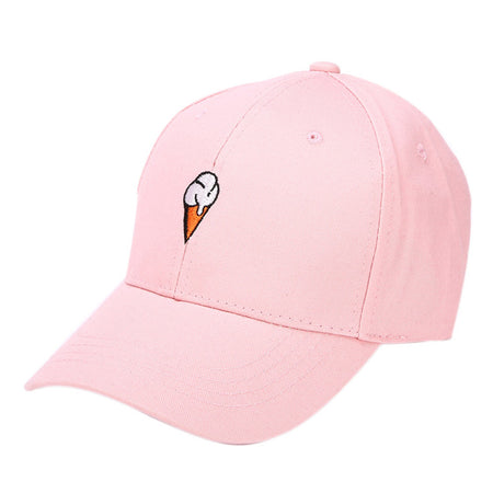 Women's Pink Ice Cream Dad Hat - Embroidered Logo On Baseball Cap Spring Collection