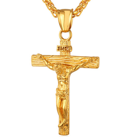 INRI Jesus Crucifix Pendant Necklace - Gold Stainless Steel Chain Catholic Christian Jewelry Men Women