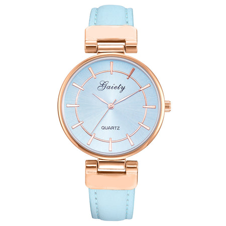 Women's Retro Glam Wristwatch - Gold Plated Leather Strap Wristwatch Band Analog Quartz Round Wrist Watch Watches Reloj Mujer Women Luxury
