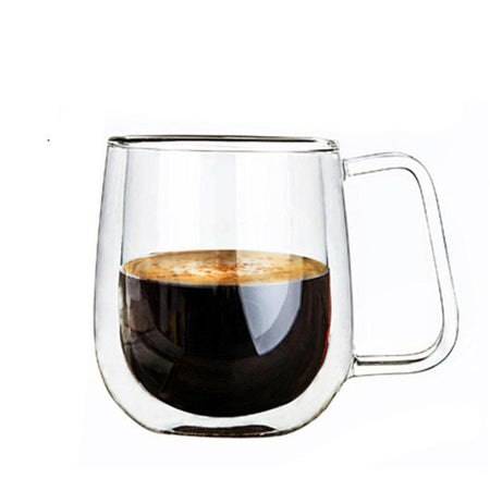 Heat Resistant Double Wall Clear Glass Cup - For Coffee Milk Tea Beer Mug Transparent Drink Kitchen Office High Quality
