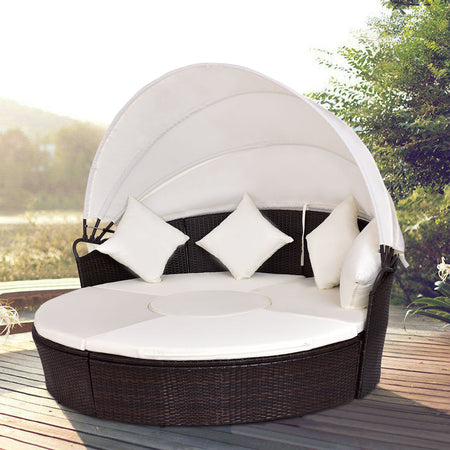 Outdoor Patio Canopy Cushioned Daybed Round Retractable Sofa Bed Modern Rattan Furniture Set